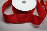 Schleifenband mit Drahtkante Rot mit Goldrand
