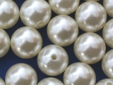 Große Portion - ca. 120 Stück - Perlen Creme 15 mm