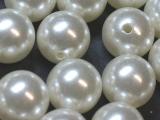Große Portion - ca. 120 Stück - Perlen Weiß 15 mm